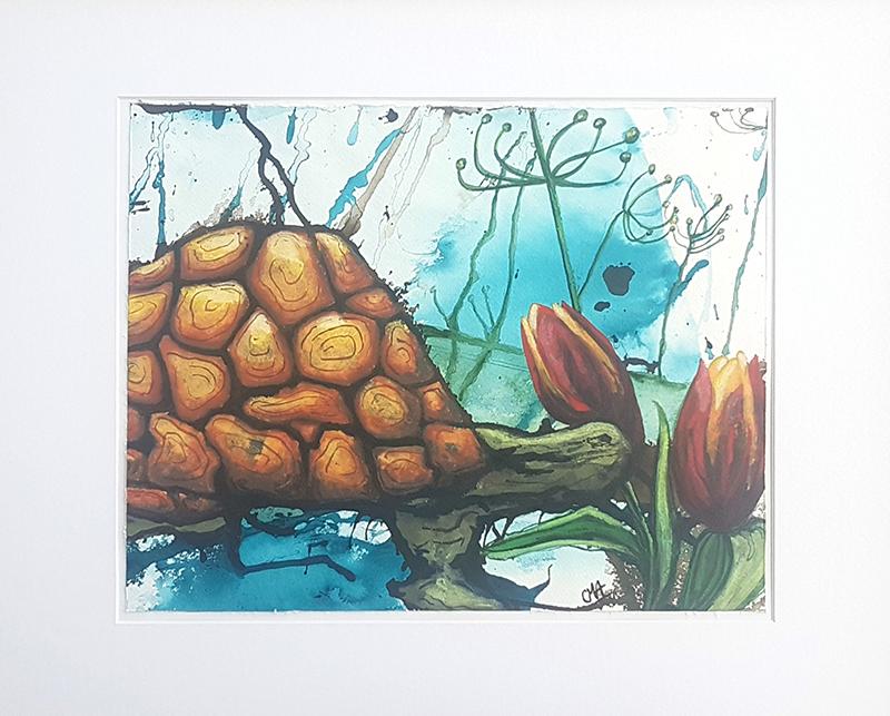 Skildpadde med hang til tulipaner
